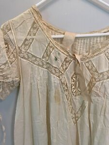 Lot Antique 1920s Lace Undergarments 2 Nightgowns And 1 Satin Slip