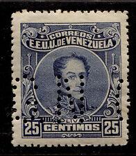 1924 Venezuela Perf 14 25c Bolivar Sc#276a Official G.N Perfin Mint Never Hinged