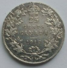 Canada 1912 25 cents silver coin