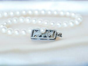 1940s Vintage Mikimoto Japanese Cultured Pearl Necklace Silver Clasp