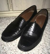 Men's JOHNSTON & MURPHY Leather Snake Pattern Loafer Shoes~Black~Size 8.5 M