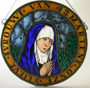 Antique stained glass Church window Virgin Mary of Sorrow (signed Jan Wouters)