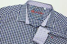 ROBERT GRAHAM Button Up Shirt Blue White Check Flip Cuff Long Sleeve Men Sz 2XL