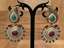 Indian Pakistani Ethnic Gold Plate Pearl Moti GreenPink Jhumki Bali Drop Earing