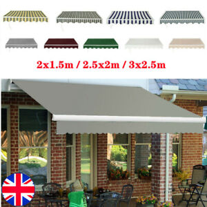 Retractable Awning Manual Outdoor Garden Canopy Patio Sun Shade Shelter UV Sizes