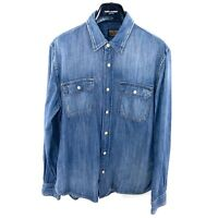 JEAN SHOP NYC New York Medium Wash Distressed Pocket Button Down Shirt Size L