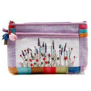 Hand Made Korean Luxurious Embroidery Wildflower Violet Ramie Fabric Pouch