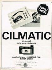 PUBLICITE ADVERTISING 095  1967  CILMATIC  appareil photo en coffret 126 INSTANT