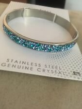 Of Blue Crystal Hinged Bracelet L@k New Confetti Stainless Steel Genuine Shades