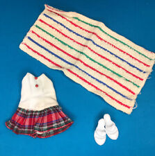 Vintage Jill Doll Vogue Clothes #3214 Swimsuit W Plaid Skirt, Towel & Shoes