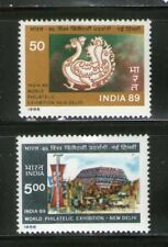 INDIA: 'INDIA-89' , SET/2, (1st ISSUE ),WORLD PHIL.EXHI., COMMEMO., MNH