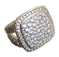 17 x 17mm 1.53ctw Pavé Diamonds LARGE 925 Sterling Silver Albion Ring Size 7