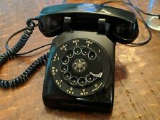 Vtg Rare Rotary Bell System by Western Electric Telephone Black Desk Phone