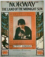 Norway The Land Of The Midnight Sun 1913 Sheet Music Silent Films Kitty Gordon