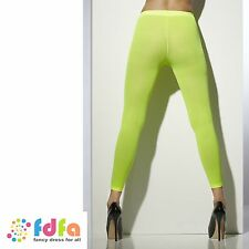 NEON GREEN OPAQUE FOOTLESS TIGHTS STOCKINGS ladies accessory womens hosiery