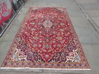 Vintage Hand Made Traditional Rug Oriental Wool Red Blue Large Rug 239x148cm