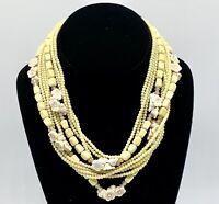 Vintage Japan 9 Strand Multi Bead Rose Bead Butter Color Necklace w/Extender