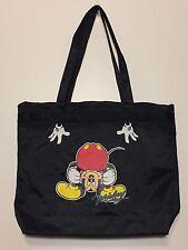 Vintage 1980s Bent Over Mickey Mouse Black Nylon Tote Bag Disney Shoulder Gym