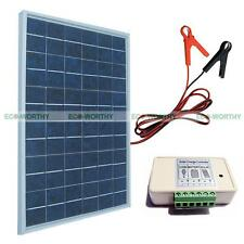 10W Poly Solar Panel Kit W/ 3A Controller & Battery Clips Charge 12V Camping Car