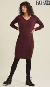 Fat Face Jumper Dress UK 8 Cashmere Wool Blend Berry Purple Excellent Condition