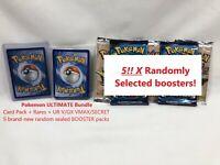 Pokemon Card ULTIMATE PACK BUNDLE LOT + 5 SEALED BOOSTERS + V/EX/GX/VMAX/SECRET