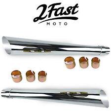 "2FastMoto Chrome 24"" Slash Cut Muffler Pair Cafe Racer Custom Motorcycle Honda"