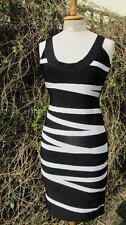 SEXY new 100% genuine HERVE LEGER black/white bandage bodycon DRESS Large £1190