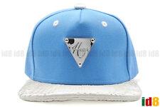 Hater Sky Blue Snapback Fashion Hat Cap White Snakeskin Silver Metal Badge