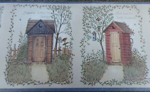 Wallpaper Border Country Cottage design with timber sheds / dunny  Blue edge