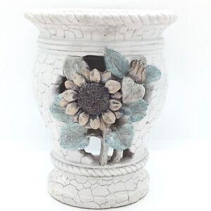 Grey Sunflower floral Tea Light Candle burner Wax Melt Holder Home Decor