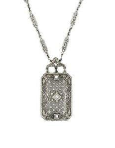 "ANTIQUE ART DECO DIAMOND PENDANT NECKLACE FANCY FILIGREE 14K WHITE GOLD ~16"""