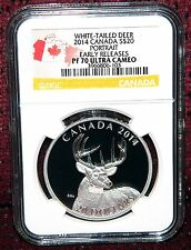 """2014 CANADA $20 WHITE TAILED DEER """"PORTRAIT"""" SILVER COIN NGC PF70 ULTRA CAMEO ER"""