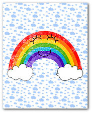 Happy Rainbow Print, Nursery Cloud Art, 8 x 10 Inches, Unframed