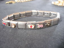 Panel Charm Bracelet Flags Turtle Silver Tone Metal Italy Florance Collection