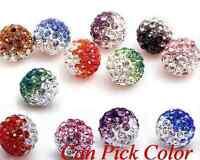 100pcs/lot 10mm Disco mixed Gradient change Colorful Crystal Shamballa Beads