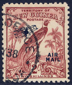 NEW GUINEA 1932-34 AIR BIRD 2/- DULL LAKE VERY FINE CDS USED. GIBBONS 200.