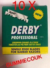 10 X Pacco di Derby PROFESSIONAL 100 singolo spigolo Lame Gratis P&P