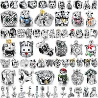 Animal Style Silver Charms Cat Dog Frog Owl Bead Fit Women 925 Bracelets Bangle