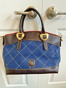 New Dooney Bourke Blue Nubuck Leather Satchel Quilted with Brown Trim / Hearts