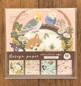Design Paper Origami Cat Rabbit Bear Panda Bird Raccoon  Pattern 6x6 48pcs
