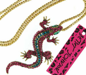 New Betsey Johnson Blue / Red Rhinestone Lizard Gecko Pendant Sweater Necklace