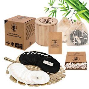 20x Reusable Bamboo Cotton Makeup Remover Pads Zero Waste Set, Vegan Beauty Set