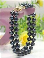 NEW 2 ROW AAA 9-10 MM NATURAL black SOUTH SEA PEARL BRACELET 14K gold clasp
