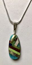 Santo Domingo Turquoise Mosaic Sterling  Pendant - Nate Garcia