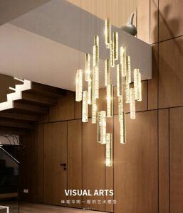 remote LED crystal Living room big chandelier villa stair light restaurant lamps
