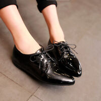 Chic Womens Flat Heels pu Patent Leather Lace Up Slip On Pumps Pointy Toe Shoes