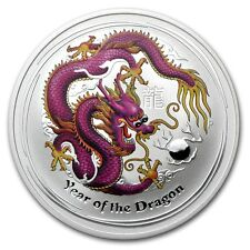 2012 1 oz Silver Australian Purple Dragon Lunar Coin Direct From Mint Roll