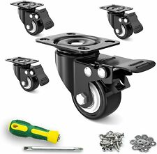 New Listing2� Caster Wheels,Set of 4,Heavy Duty Swivel Casters with Brake, Safety Dual Lock