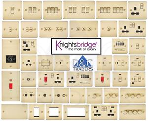 Knightsbridge Flatplate light switches & sockets BRUSHED BRASS series range