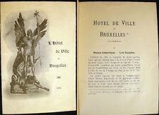 1912 HISTORY L'HOTEL DE VILLE DE BRUXELLES BELGIUM HISTOIRE
